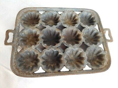 old vintage primitive cast iron mold tarts pies cookware cooking kitchen antique