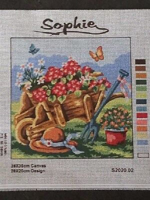 "Sophie Tapestry Canvas ONLY - ""Garden wheelbarrow with flowers"""