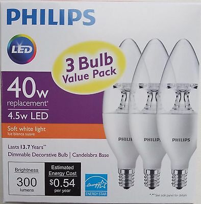 3-Pack LED Philips 40W Soft White Dimmable decorative B11  Candelabra Base