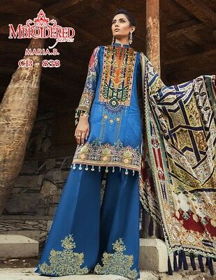 Pakistani designer heavy embroidered linen unstitched shalwar kameez