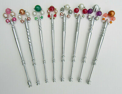 8 Unusual Lightweight Turned Metal Alloy Lace Making Bobbins with Spangles. #2