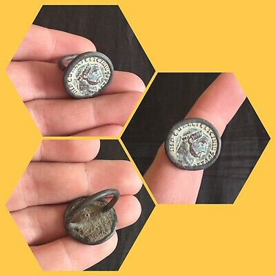 Rare ancient Roman bronze coin ring , 2nd to 4th Century ad