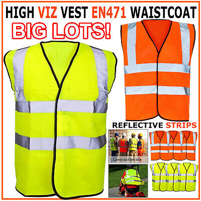 High Visibility Reflective Waistcoat Construction Safety Vest Hi Viz Jacket Lot
