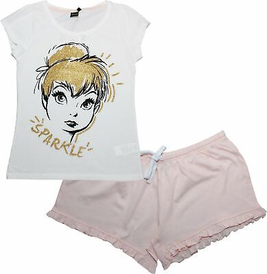 Disney Tinkerbell Fairies Ladies Sparkle Short Sleeve Pyjamas Set