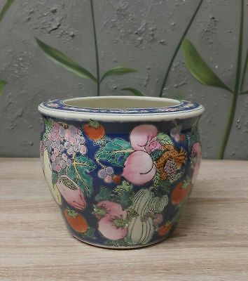 Antique Chinese Porcelain Round Pot Plant Planter - Hand made Hand painted