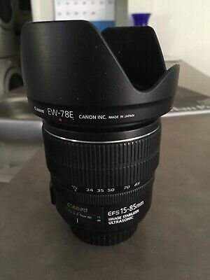 Canon EF-S 15-85mm f/3.5-5.6 IS USM Lens plus Canon Hood