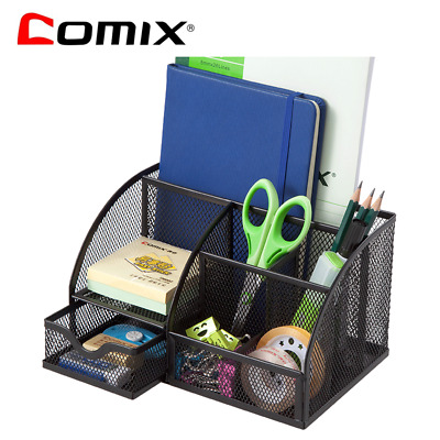 Comix Office Desk Organiser Pen/Pencil Stand Durable Metal Wire Mesh-B2000