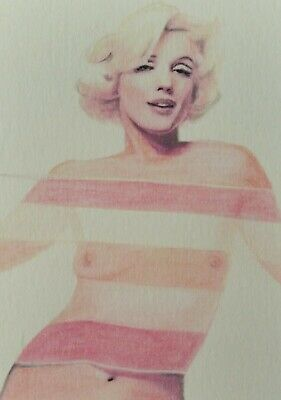 Original Marilyn Monroe aceo sketch card watercolour painting Signed