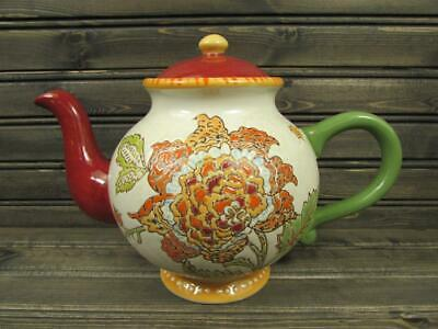 Artistic Accents by Coastline Imports Tea Pot Embossed Multi Color Floral