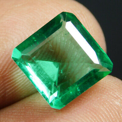 5.40 Ct VVS Transparent Colombia Emerald Cut Gemstone GIE Lab Certified