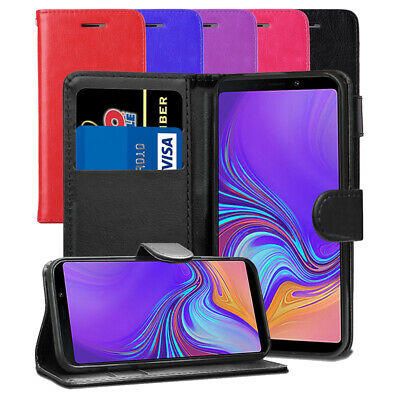 For Samsung Galaxy A9 2018 - Premium Leather Wallet Flip Case Cover + Protector