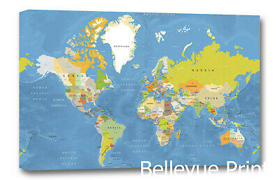 Decoration world map nursery a3 canvas picture nursery gift ...