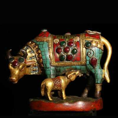 China old antique copper inlay Turquoise gem Mother and son cattle statue