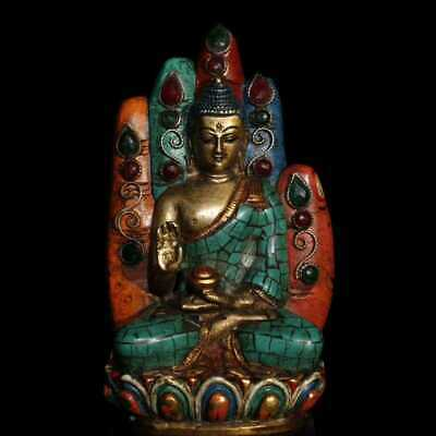 "6"" China old copper Nepal Coloured painting inlay Turquoise Shakya Mani statue"