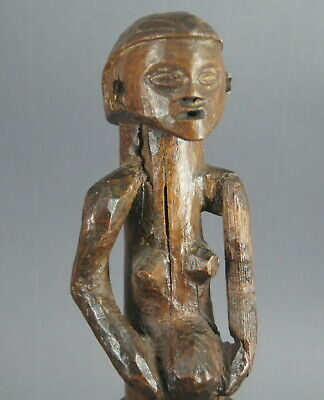 Good V Old Congo Carved Wooden Female Figure Mbala Holo African Tribal Art