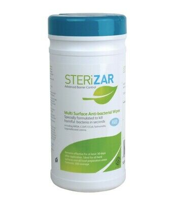 Sterizar Alcohol Free Hard Surface Sanitiser Cleaner Wet Wipes Tub of 200