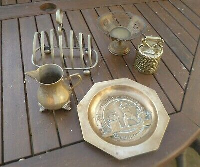 Joblot of Antique & Vintage Brass Items-Bell, Jug, Dishes, Toast Rack