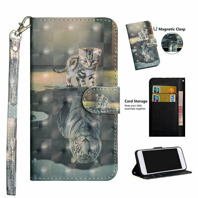 3D Painting PU Leather Wallet Case Flip Cover Stand Card for Phones Cat Tiger