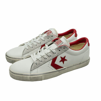 CONVERSE PRO LEATHER VULC OX DISTRESSED Sneakers Turn Schuhe Unisex Weiß Rot