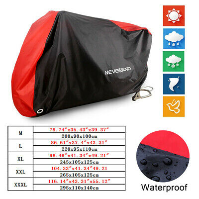 Motorcycle 190T Waterproof Outdoor Cover Snow Dust Protection w/ Storage Bag