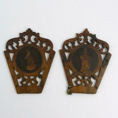 Pair Of Sorrento Ware Olive Wood Panels, 19Th Century