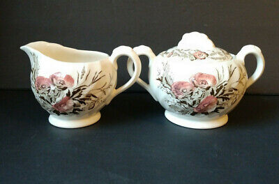 A.J. WIlkinson Clarice Cliff Harvest Pink Brown Sugar Bowl with Lid & Creamer