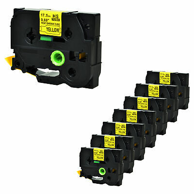 """8PK Heat Shrink Tube Black on Yellow Tape for Brother HSe641 PTE500 0.7"""" x4.92ft"""