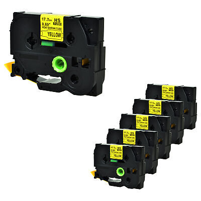 """6PK Heat Shrink Tube Black on Yellow Tape for Brother HSe641 PTE300 0.7"""" x4.92ft"""
