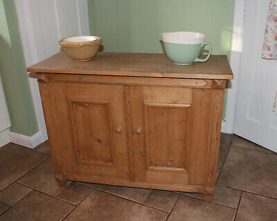 Old Antique Pine Cupboard Kitchen Farmhouse Rustic Sideboard