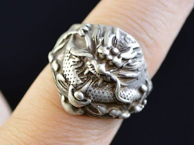 Silver Hand-carved Dragon Fashion Classic Ring Collection Gift