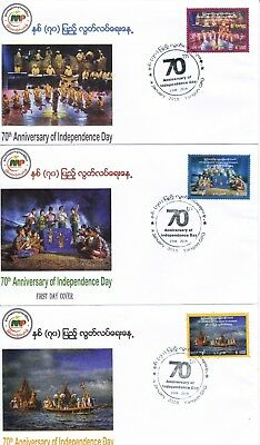NEW PRICE Myanmar 2018 70th anniversary of independence on three matching FDCs