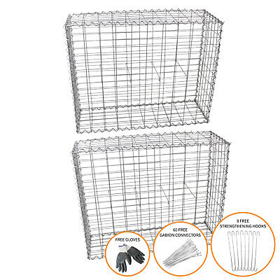 Gabion Baskets Stone Wire Cages Outdoor Mesh Planter / 100 x 95 x 30cm / 2 Pack