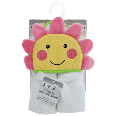 Very Cute Output Swim Towel Hooded Flower For Baby Pink White