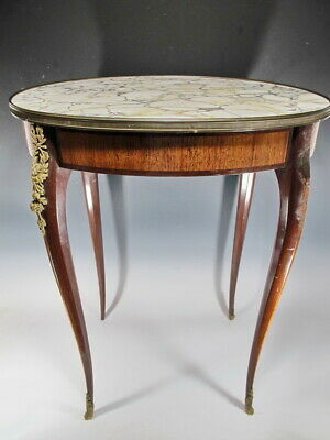 Antique French Louis XV style marble top oval table # SK05
