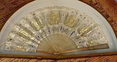 19th Century French Silk, Gold and Silver Formal Evening Fan