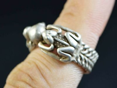 Collection China 20. Jhd. Statue/Ring Chinese Silver Casting Figure Of Frog