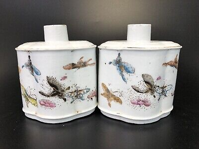 Beautiful Pair Of Antique Chinese Porcelain Tea Caddy