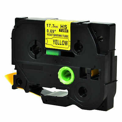 """Heat Shrink Tubes Black on Yellow Tape for Brother HSe 641 P-touch PT-E500 0.7"""""""