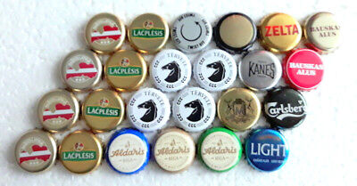 24 BOTTLE CAPS - LATVIA .TWO  lots at once - Bonus 9 beer caps.