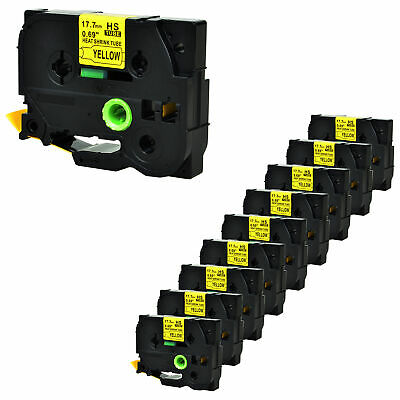 10x Heat Shrink Tube Black on Yellow Tape for Brother HSe641 P-touch 11.7mmx1.5m