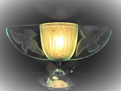Particularly rare antique French Art Deco glass lamp by Vermer Paris circa 1934