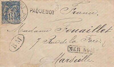 TURKEY FRENCH PO to france cover 1899 paquebot BLACK SEA CDS RARE!!