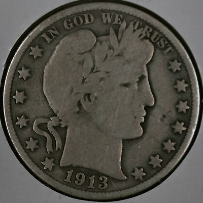 1913 50C Barber Half Dollar - Very Good Cleaned