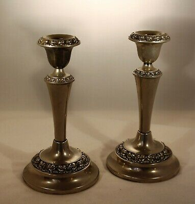Vintage Ianthe Epns Silver Plate Candlesticks Set Of Two>>>