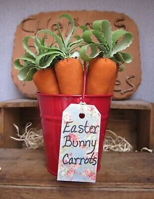 Primitive Red Bucket of Carrots For the Easter Bunny Bowl Fillers Ornies