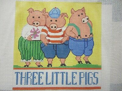 "Needlepoint Canvas ""Three Little Pigs"" by Amanda Lawford #21001 Hand Painted"