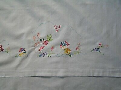 Pretty Vintage Embroidered Baby Bedding; A Sheet & Small Pillowcase