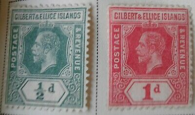Gilbert and Ellice Islands Scott # 14-15 and #17-22 mint hinged 1912