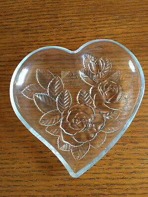 Studio Nova-by Mikasa Heart Shaped Crystal Candy/Nut Dish with Rose Design