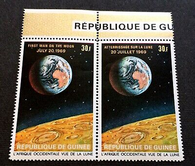 First man on the moon 1969 - wonderful mint pair Guinea